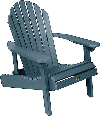 Amazon Com Highwood Ad Chl1 Nbe Hamilton Folding And Reclining Adirondack Chair Adult Size Nantucket Blue Garden Outdoor