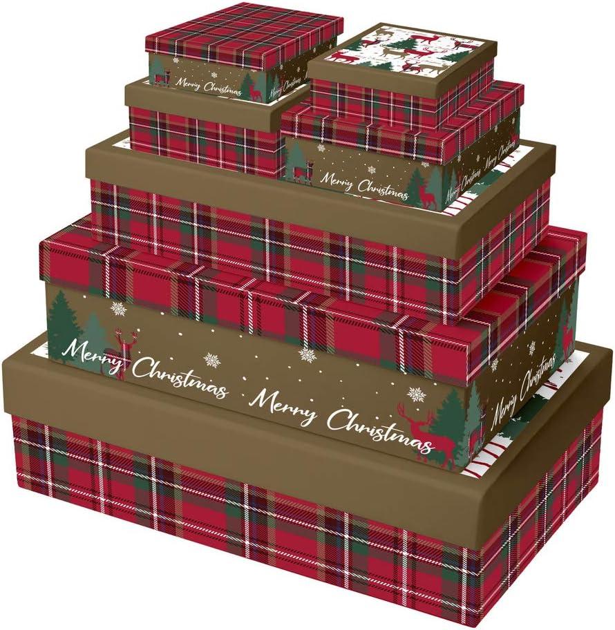Set di 7 scatole rettangolari tartan Clairefontaine X-28068-BXC 2 scatole 21,5 x 14 x 5 cm e 23,5 x 16 x 6 cm + 1 scatola 35 x 26 x 7 cm, 37 x 28 x 9 cm e 39 x 30 x 11 cm