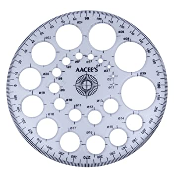 AaceeS Transparent Plastic ProCircle Protractor Radius Template