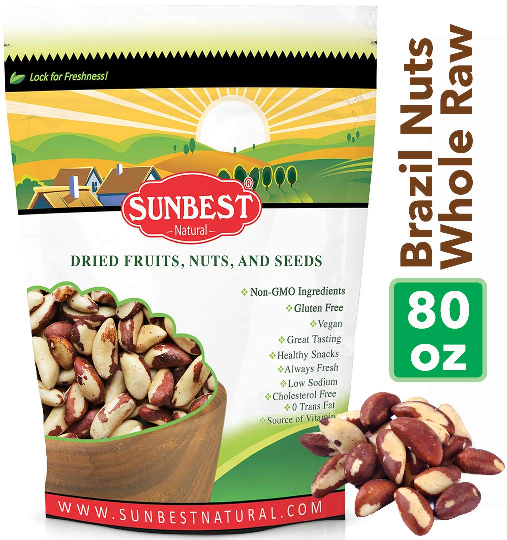 SUNBEST Whole, Raw Shelled Brazil Nuts Whole & Unsalted No Shell in Resealable Bag (5 Lb)