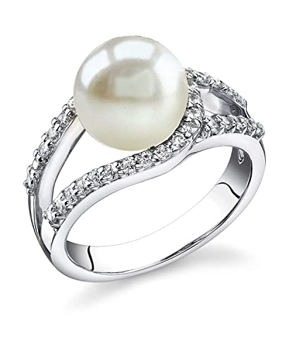 THE PEARL SOURCE 9-10mm Genuine White Freshwater Cultured Pearl Tessa Ring for Women