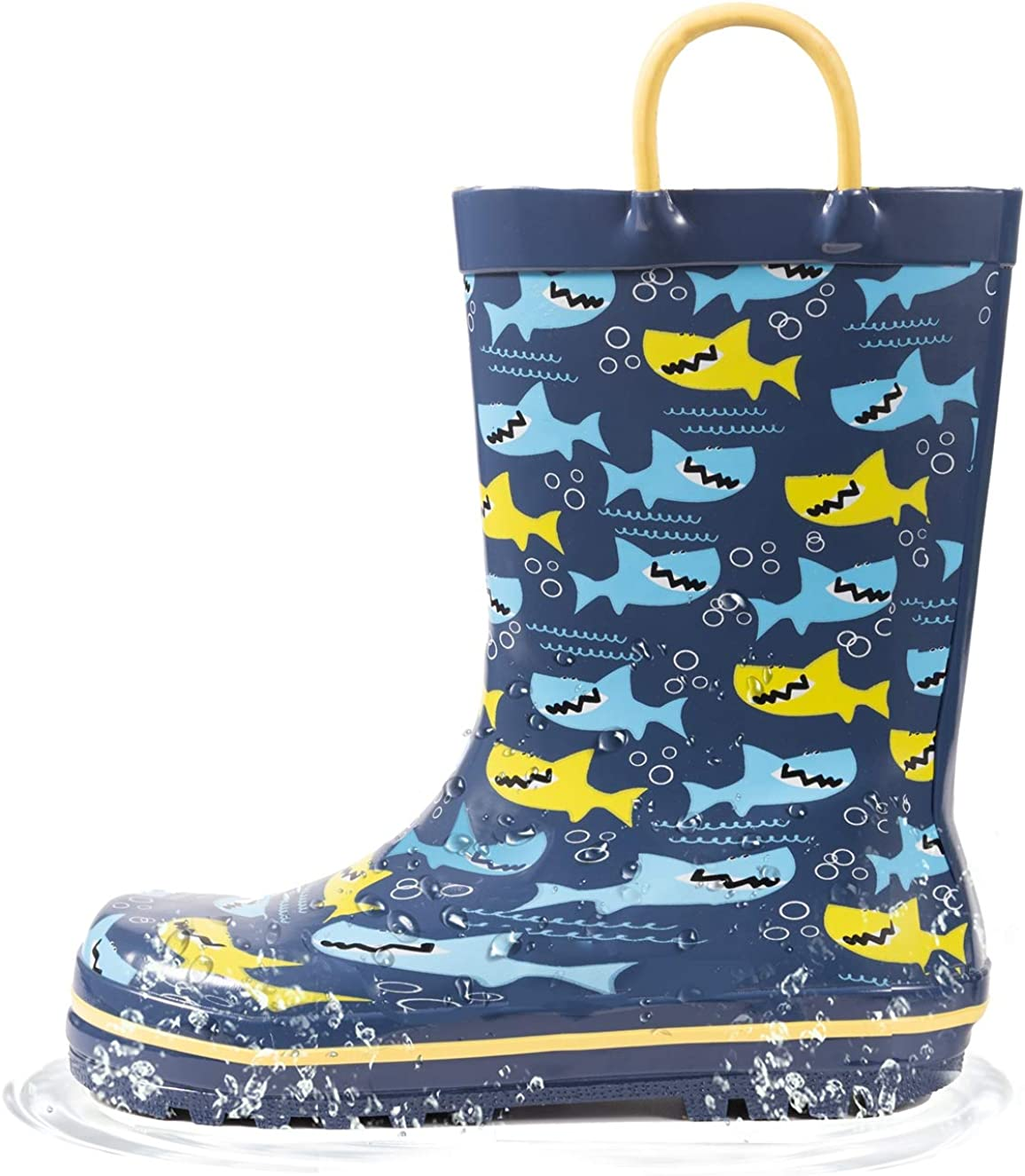 Amazon Com Outee Toddler Kids Rain Boots Rubber Cute Printed With Easy On Handles Boots