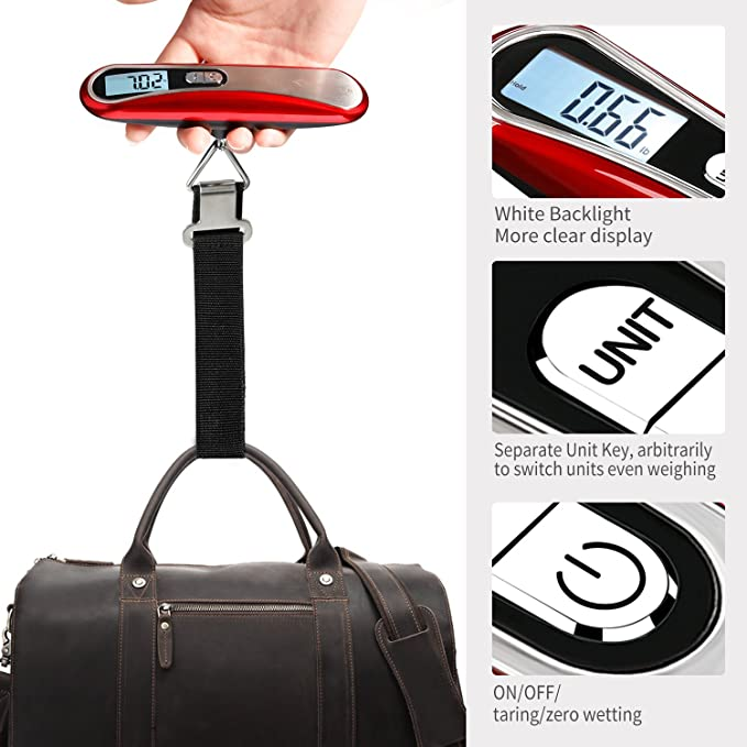 MYCARBON Escala del Equipaje Pesa Maletas Báscula Digital Portátil Bascula para Maletas de Viaje Pantalla LCD Retroiluminada para Leer Tare Function ...