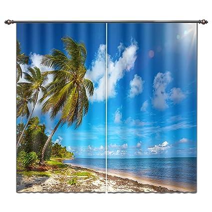 Amazon Com Lb 3d Curtain Drapes Ocean Collection Window Curtain