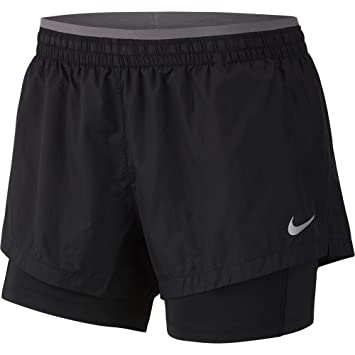 NIKE Women s Elevate 2-in-1 Running Shorts Black Gun smoke Small 66097a5ee