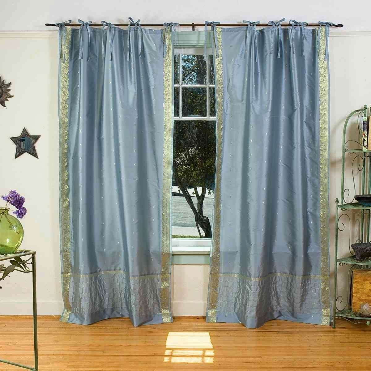 Indian Selections Lined-Gray Tie Top Sheer Sari Curtain Drape Panel – 80W x 120L – Pair