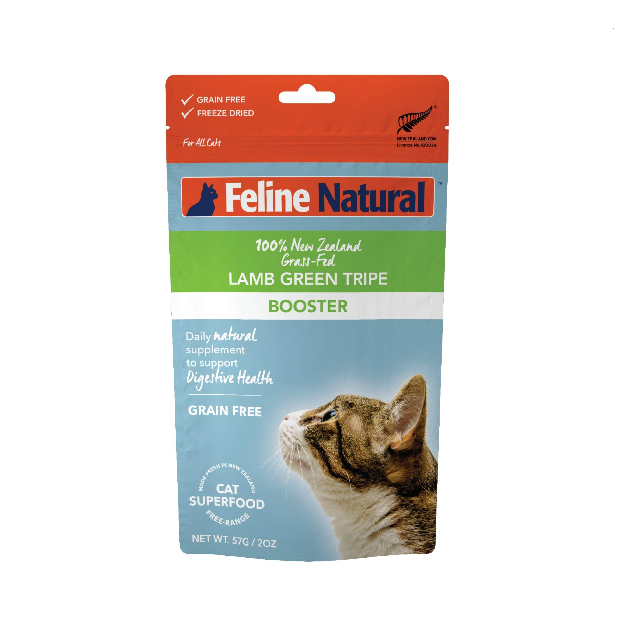 Freeze Dried Cat Food Supplement Booster by Feline Natural - Perfect Grain Free, Healthy, Hypoallergenic Limited Ingredients - Cat Supplement - 100% Green Tripe Nutrition for Cats - 2 oz