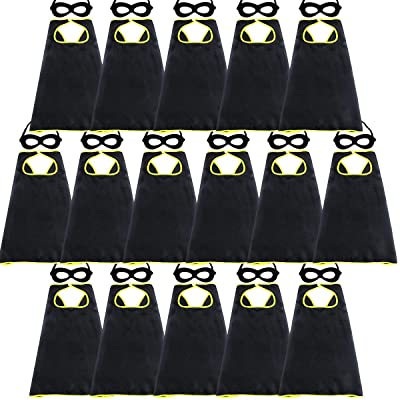 D.Q.Z Super Hero Capes for Kids Bulk with Masks Girls Boys Superhero Dress Up Party-16 Pack (Black): Toys & Games