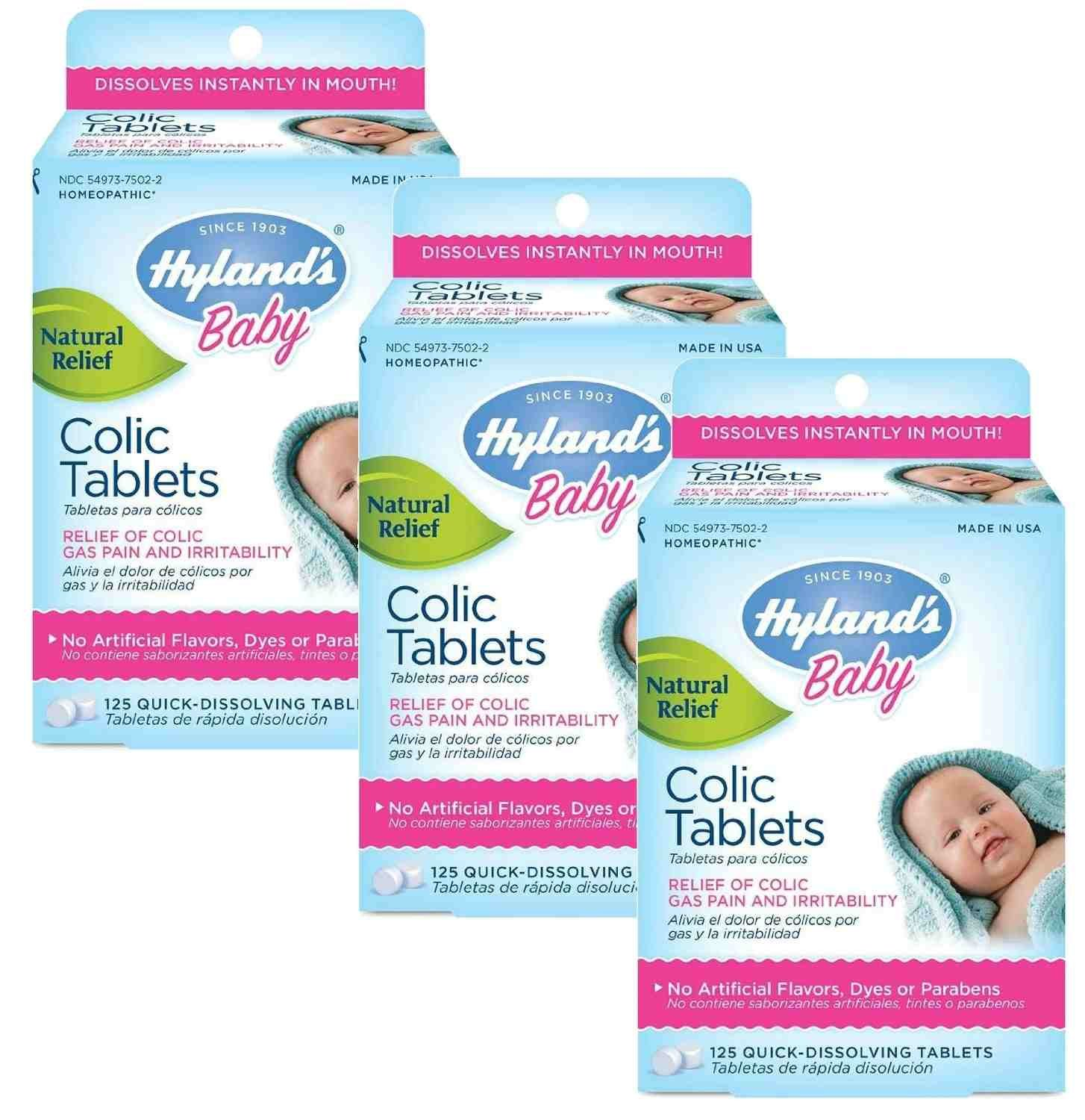 Hyland's Baby Colic Tablets, Natural Relief of Colic Gas Pain and Irritability,125 Count (Pack of 3) Hyland' s Baby