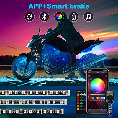 Upgraded 12pcs Motorcycle LED Lights Kits, RGB Smart brake IP67 Waterproof Accent Glow Neon with APP and Dual RF remote control for Harley Davidson Honda Kawasaki Suzuki: Automotive