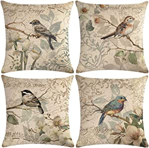 "ULOVE LOVE YOURSELF 4pack Vintage Bird Pillow Covers Birds Singing On The Branch with Musical Note& Inspirational Words Home Decorative Pillowcases Retro Cushion Covers 18""×18""(Birds Singing)"
