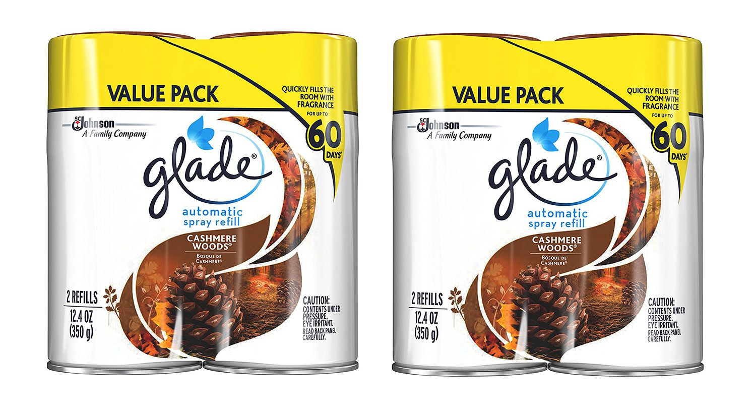 Glade Automatic Spray QBiOO Air Freshener Refill, Cashmere Woods, 2 Count (2 Pack)