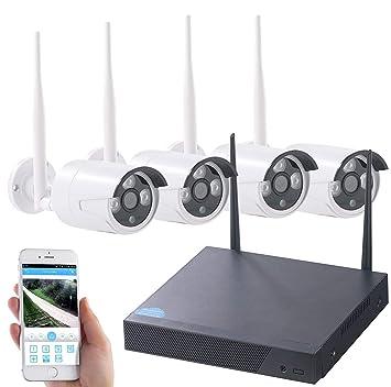 Cámara de vigilancia de VisorTechSistema de vigilancia inalámbrico, grabadora HDD y 4 Cámaras IP,