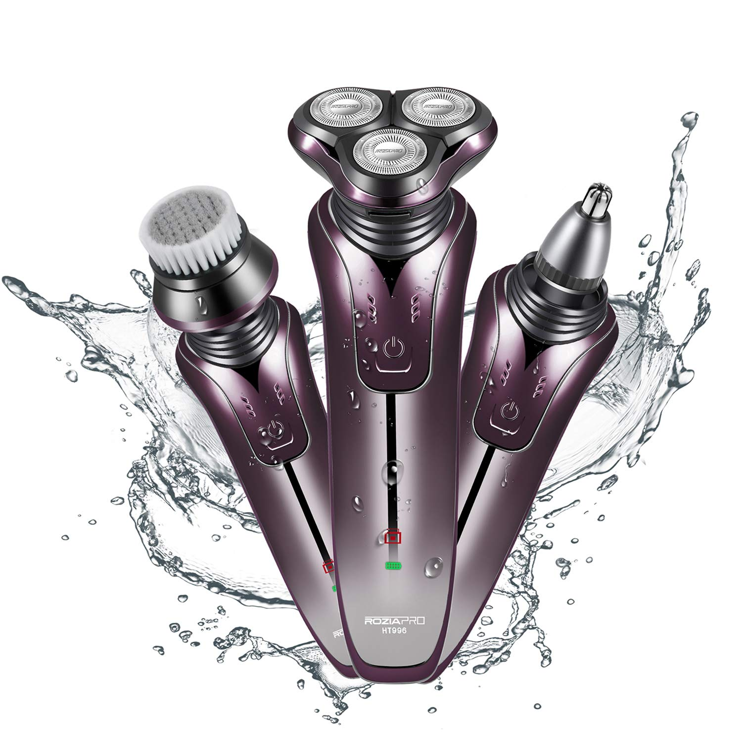 Electric Shaver Razor for Men Rechargeable Rotary Shaver Nose Trimmer Facial Cleaning Brush 3 in 1 Cordless Waterproof