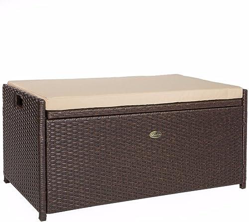 Barton Outdoor Storage Bench Rattan Style Deck Box Wicker Patio Furniture Water Resistance w/Seat Cushion