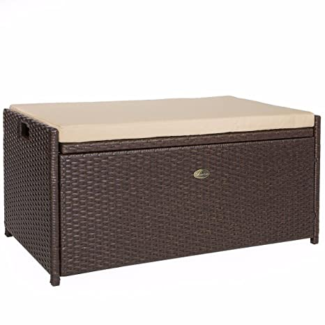 Prime Barton Outdoor Storage Bench Rattan Style Deck Box Wicker Patio Furniture Water Resistance W Seat Cushion 60 Gallon Brown Pabps2019 Chair Design Images Pabps2019Com
