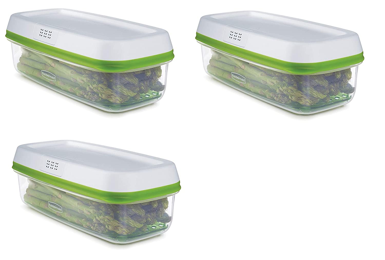 Rubbermaid FreshWorks Produce Saver Food Storage Container, Small Rectangle, 4 Cup, Green 1996982 Newell Brands