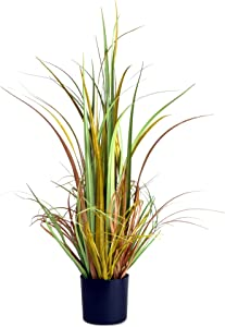 Ultra Realistic Faux Grass House Plant, Black Pot, Thick and Bushy, Highly Detailed, Colored, Curled and Rendered Leaves, Fade Resistant, 32 Inches Tall, Plastic