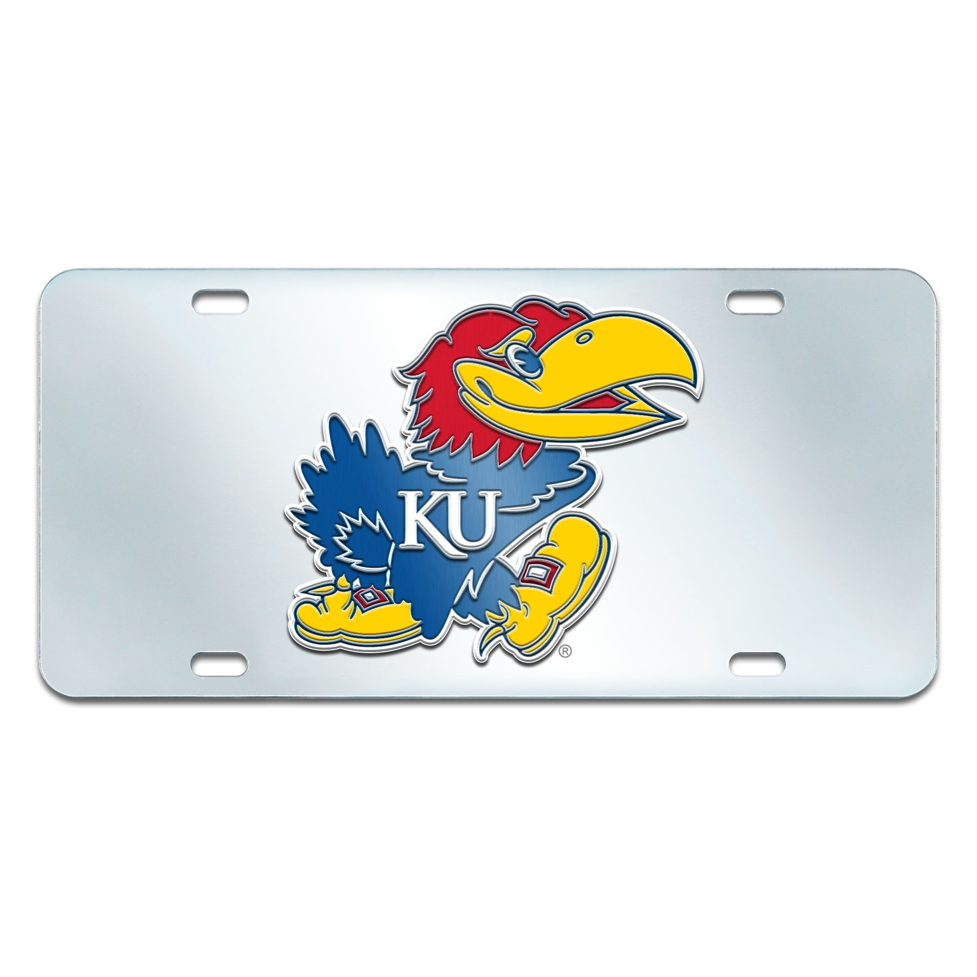 Fanmats NCAA University of Kansas Jayhawks Plastic License Plate (Inlaid)
