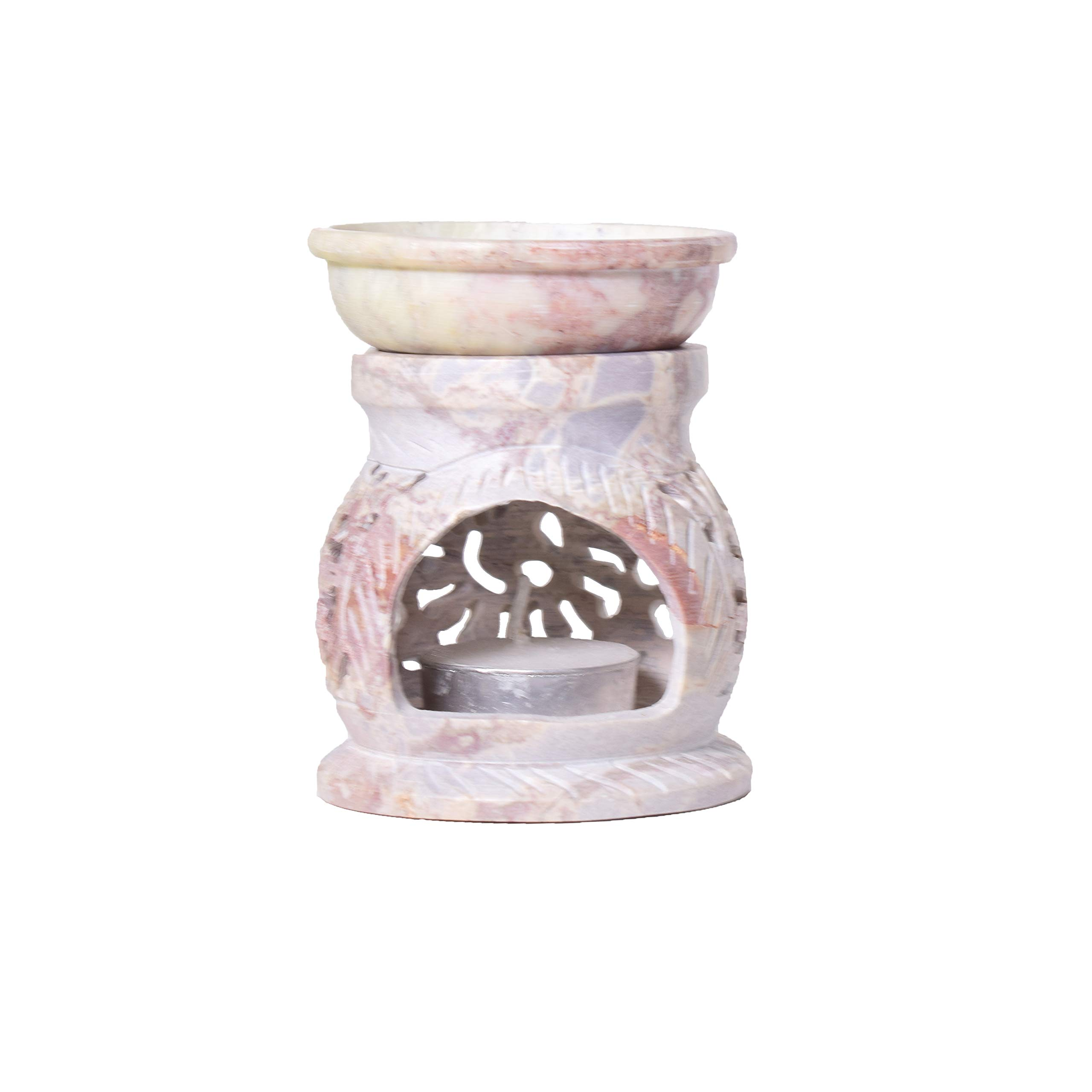 Living Room /& Office. Artistic India Soapstone Tealight Candle Holder Sphere,4,Shaped with Intricate Tendril Openwork-Table Decorative Candle Holders for Home