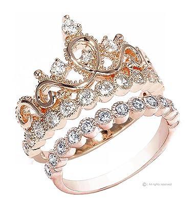 Amazon Guliette Verona Sterling Silver Princess Crown Ring
