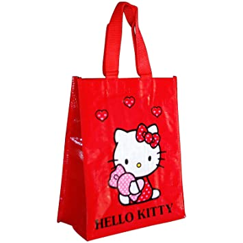 HELLO KITTY Girls Plastic Decorated Shopping Bag 25 x 30 x 12 cm ... 64aae3be64f37
