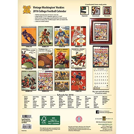 Amazon.com : Vintage Washington Huskies Football Poster Calendar by Asgard  Press : Office Products