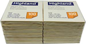 Highland 6549YW Self-Stick Notes, 3 x 3, Yellow, 100-Sheet (Pack of 12)
