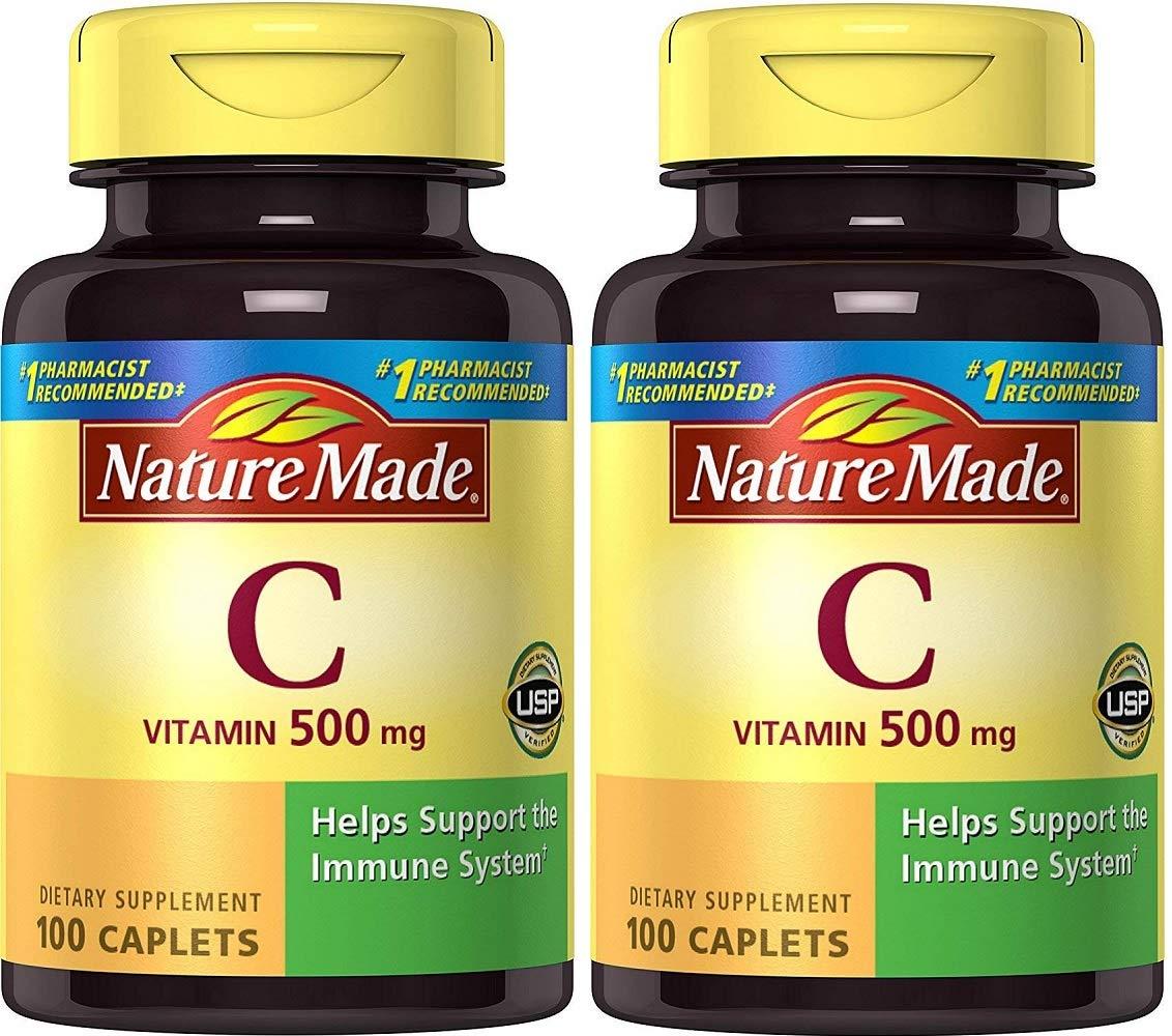 Nature Made Vitamin C 500 mg Caps, 100 ct (Pack of 2)