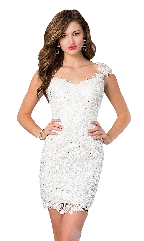 Felaladress 2015 Backless White Corset Lace Sequin Mini Prom Dresses