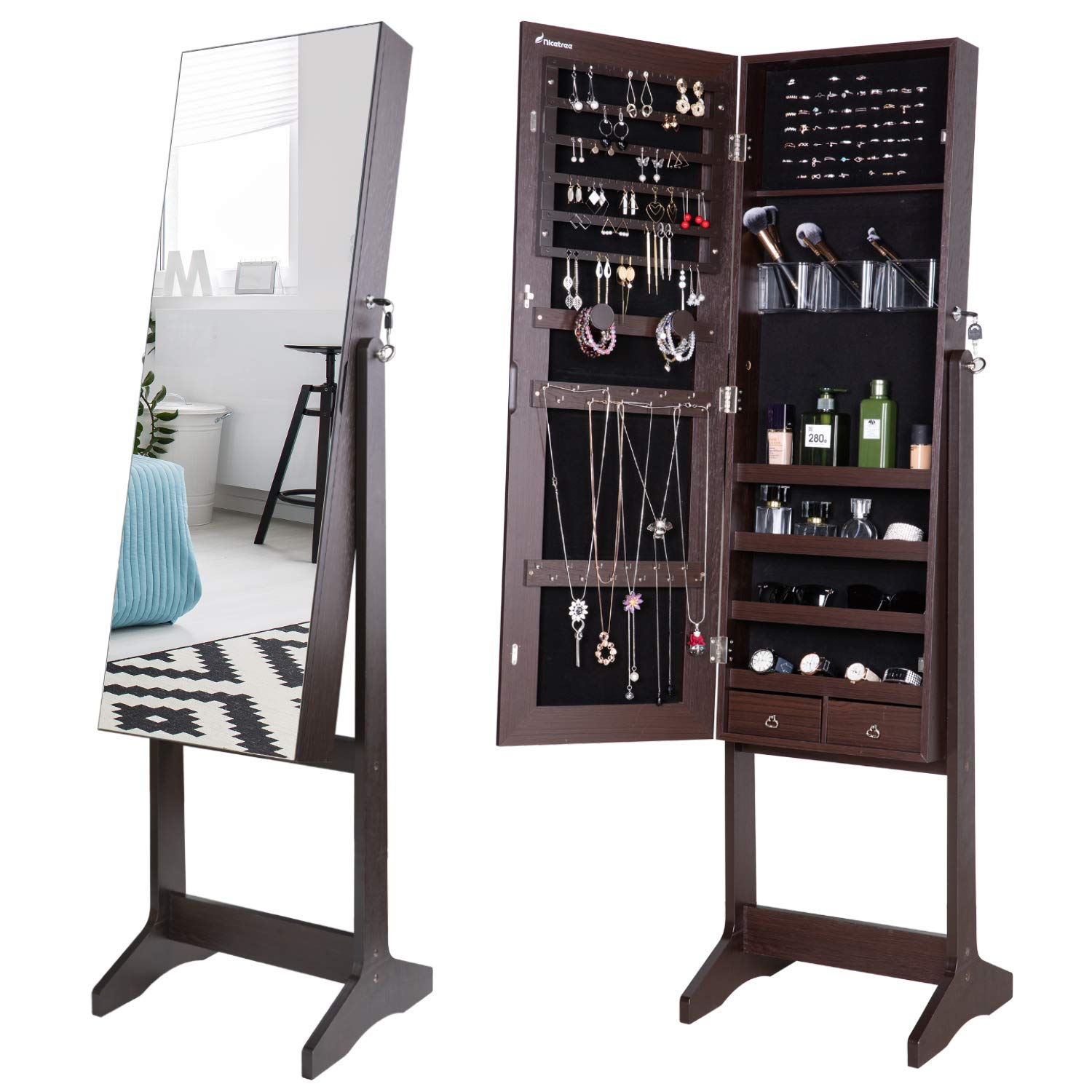 Nicetree Jewelry Cabinet with Full-Length Mirror, Standing Lockable Jewelry Armoire Organizer, 3 Angel Adjustable, Brown by Nicetree