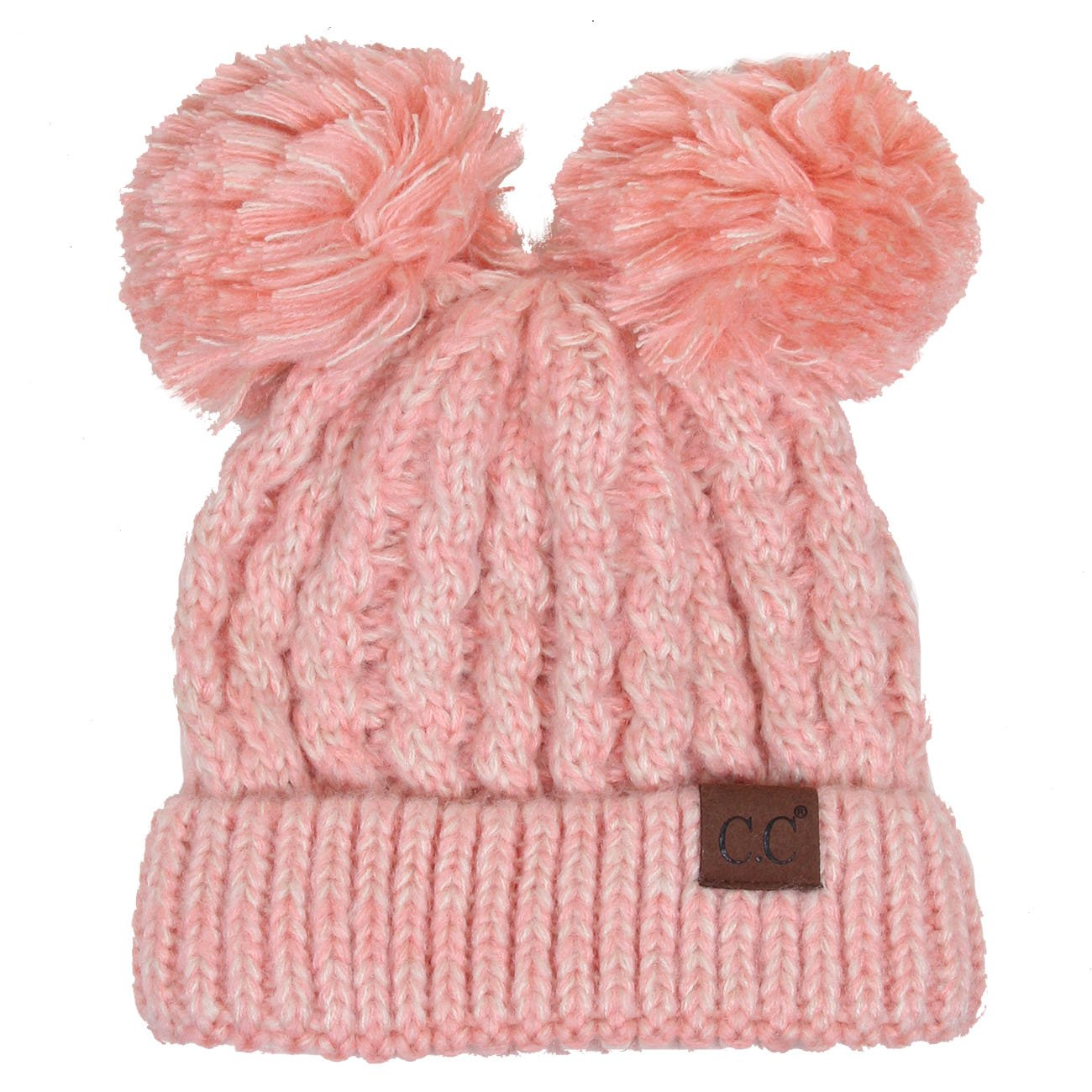 ScarvesMe CC Women Ribbed Knitted Double Pom Pom Beanie Hat (2 Tone Rose)
