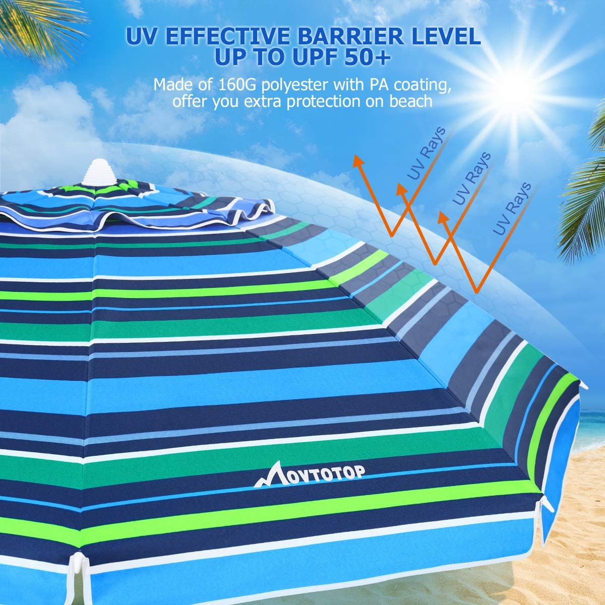 Beach Umbrella, 6.5ft Patio Umbrella with Tilt Mechanism, Portable UV 50+ Protection Beach Umbrella, Blue-Cyan Stripe