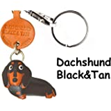Dachshund short hair Black&Tan Leather Dog Small Keychain VANCA CRAFT-Collectible Keyring Charm Pendant Made in Japan