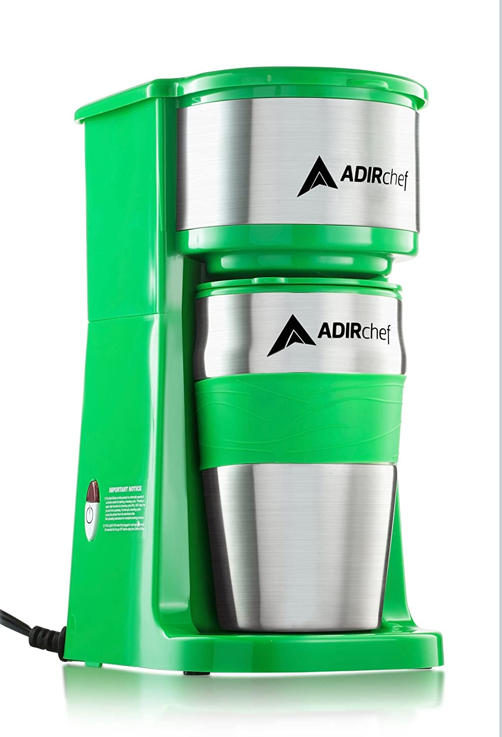 AdirChef Grab N' Go Personal Coffee Maker with 15 oz. Travel Mug (Green)