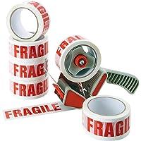 """Tape met opschrift""""Fragile"""" – 6 rollen – verpakkingstape voor verhuisdozen – zeer goede hechting op karton en…"""