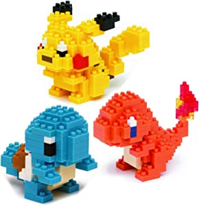 Nanoblock Building Blocks Pokemon Pikachu (130pcs), Charmander (120pcs) & Squirtle (120pcs) Gift Set Bundle - 3 Pack