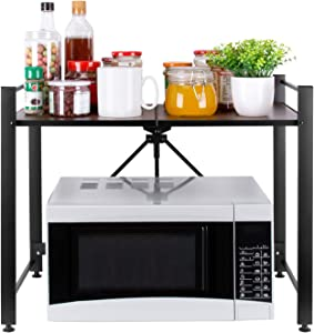 """ESEOE Microwave Oven Rack- Foldable Microwave Oven Shelf Stand, Counter Top Storage Organizer For Kitchen, Oven, Toaster, Utensils, Towels, Spice and more, No need to Assembly, 24.2"""" x 15.4"""" x 20"""""""