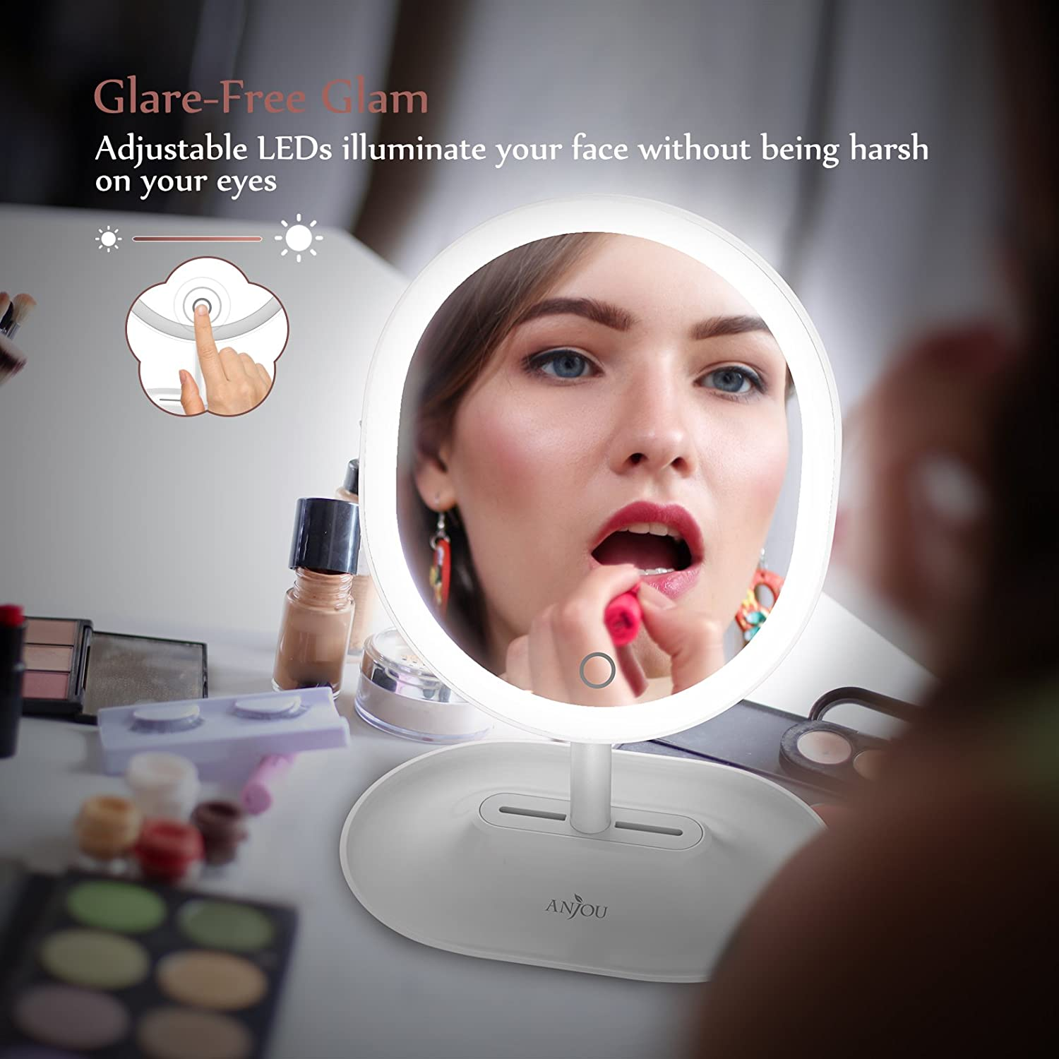 Anjou Makeup Mirror Rechargeable Led Lighted With 1x 5 X