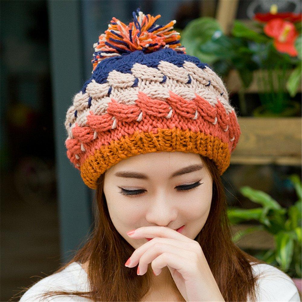 Un sombrero de mujer dama encantadora tejer sombrero en invierno moda otoño e invierno ear Beret cap...