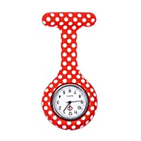 SODIAL(R) Red white dots pattern Silicone Nurses Brooch Tunic Fob Pocket Watch Stainless Dial
