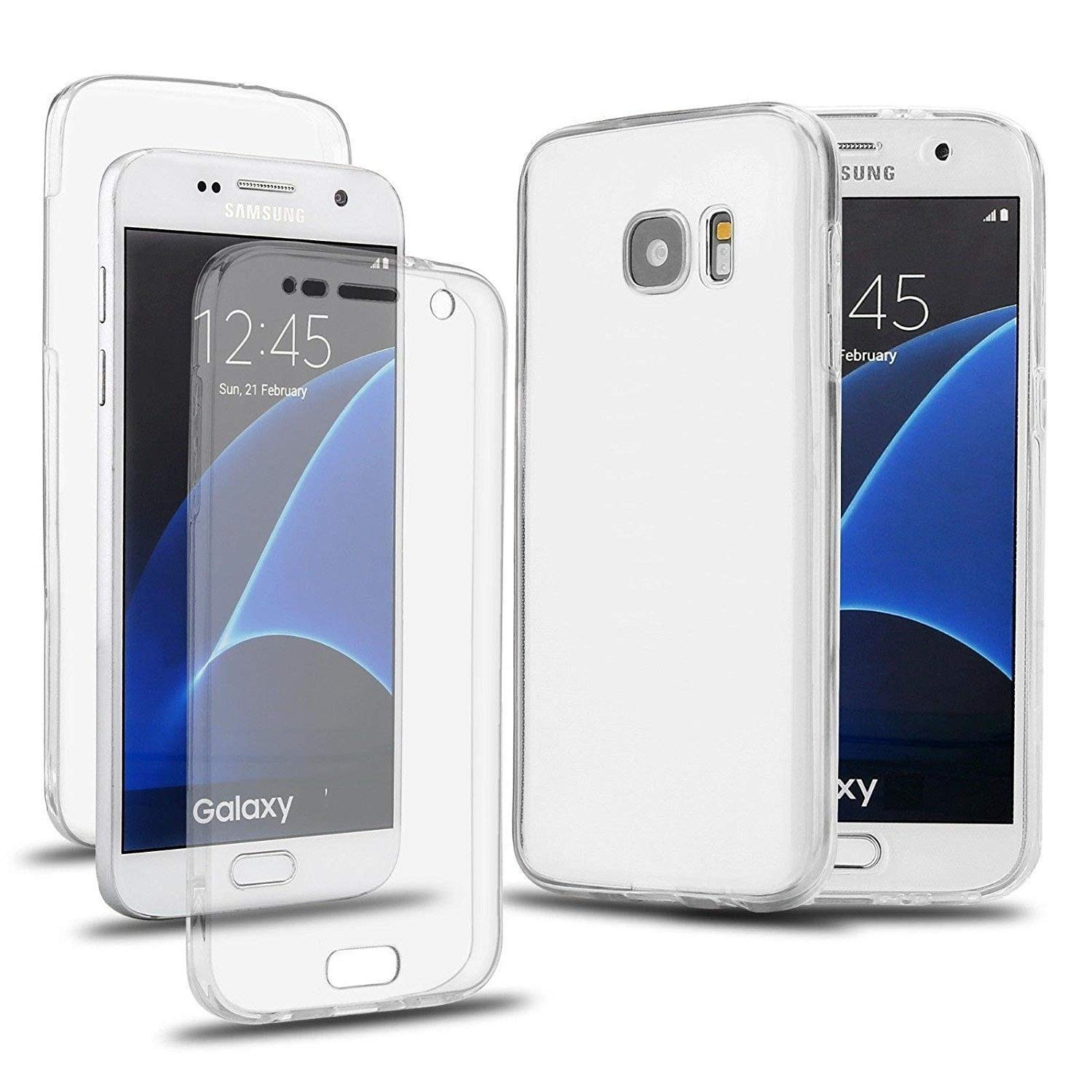 quality design c8f45 f62c3 NWNK13® Ultra Slim 360 case Samsung Galaxy S6 EDGE PLUS Dual Side Full Body  Complete[ Clear ](Shock Reduction) Tpu Silicon Gel Case With card ...