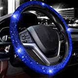 Valleycomfy Steering Wheel Cover for Women Bling Bling Crystal Diamond Sparkling Car SUV Wheel Protector Universal Fit 15 Inc