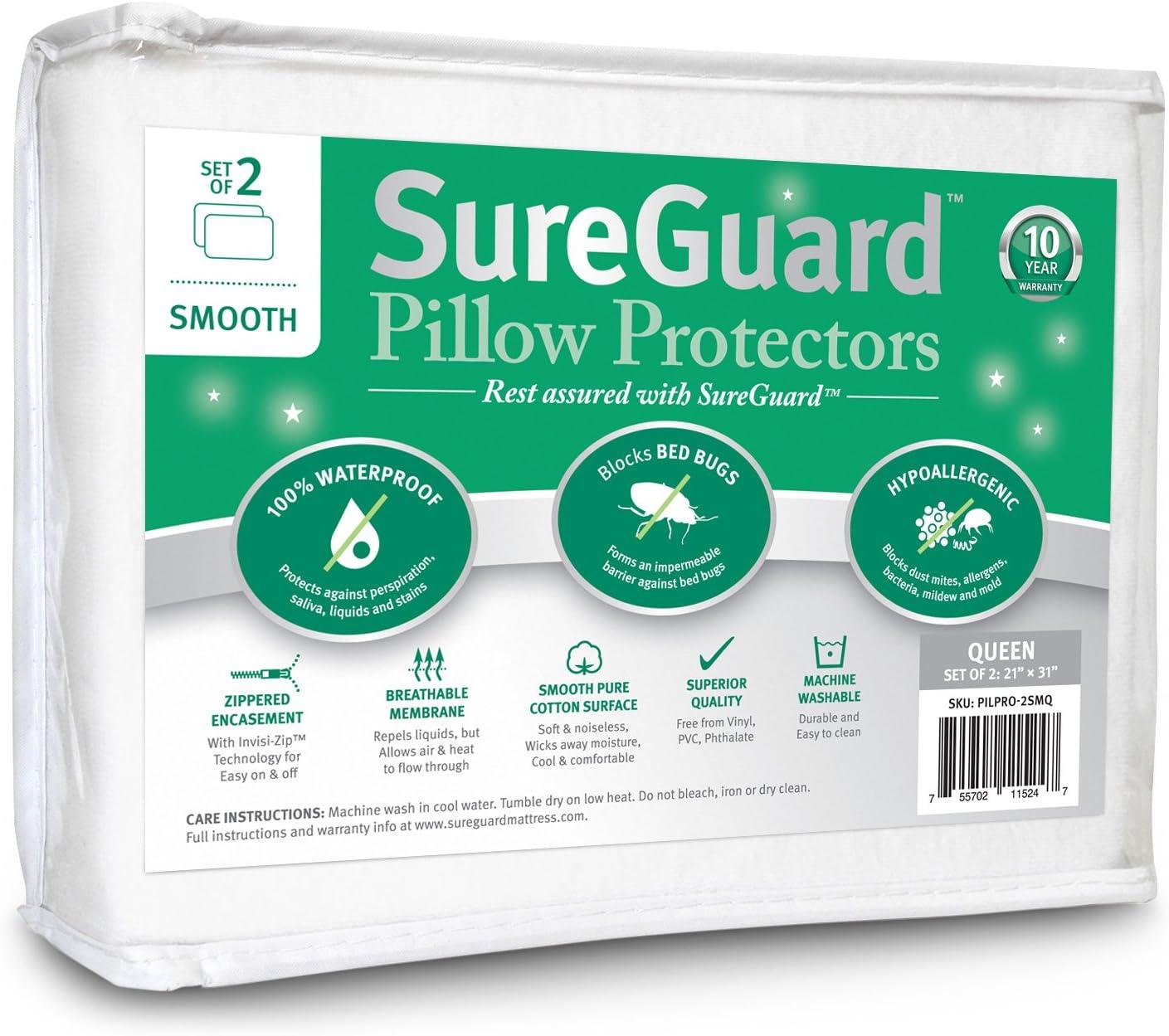 Set of 2 Smooth SureGuard Pillow Protectors - 100% Waterproof, Bed Bug Proof, Hypoallergenic - Premium Zippered Cotton - 10 Year Warranty - Queen Size