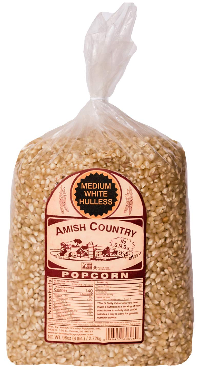 Amish Country Popcorn - 6 LB Medium White Kernels - Old Fashioned, Non GMO, and Gluten Free with Recipe Guide
