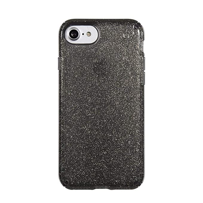 competitive price ba661 f6fde Speck Products Presidio Clear + Glitter Cell Phone Case for iPhone 7,  iPhone 6/6S - Gold Glitter/Onyx Black Clear