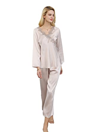 1f3a5bebe3 CLC Women s Pure Mulberry Silk Pajama Set Lace Sleep Sets at Amazon Women s  Clothing store