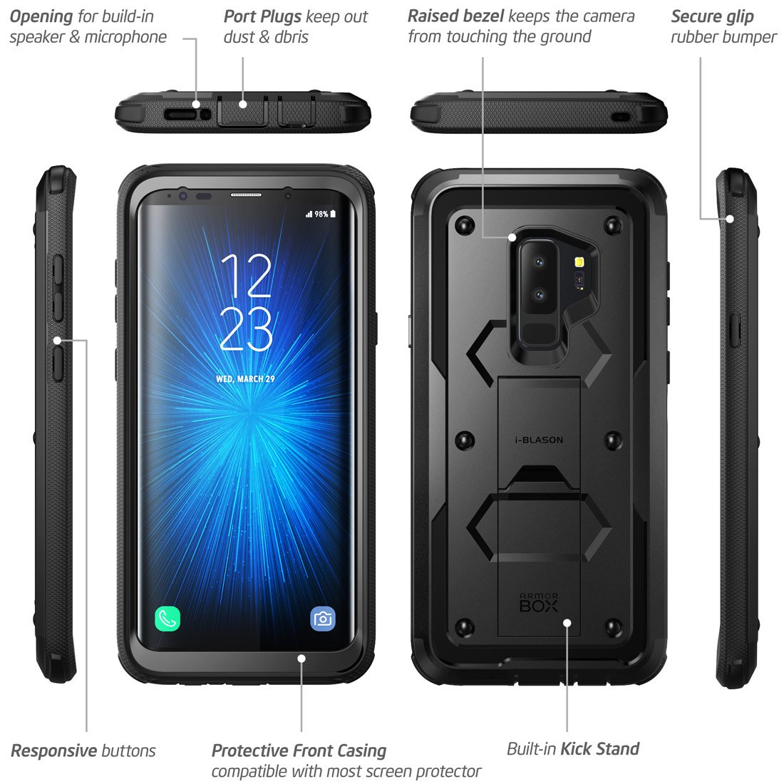 Galaxy S9+ Plus Case, i-Blason [Armorbox V2.0] [Full body] [Heavy Duty Protection ] [Kickstand] Shock Reduction/Bumper Case with Screen Protector for Samsung Galaxy S9+ Plus (2018 Release) (Black) by i-Blason (Image #7)