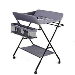 Baby Folding Changing Table with Wheels, Adjustable Height Folding Portable Diaper Station Nursery Organizer with Newborn Clothes Drying Rack & Storage Rack for Infant