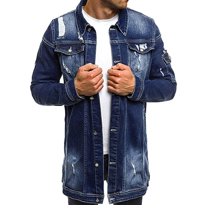 MODOQO Mens Long Denim Jacket Long Sleeve Vintage Wash Jean Coat Top Outwear